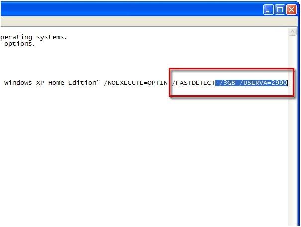 Option /3GB und Parameter /USERVA bearbeiten