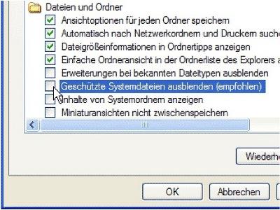 Geschützte Systemdateien ausblenden