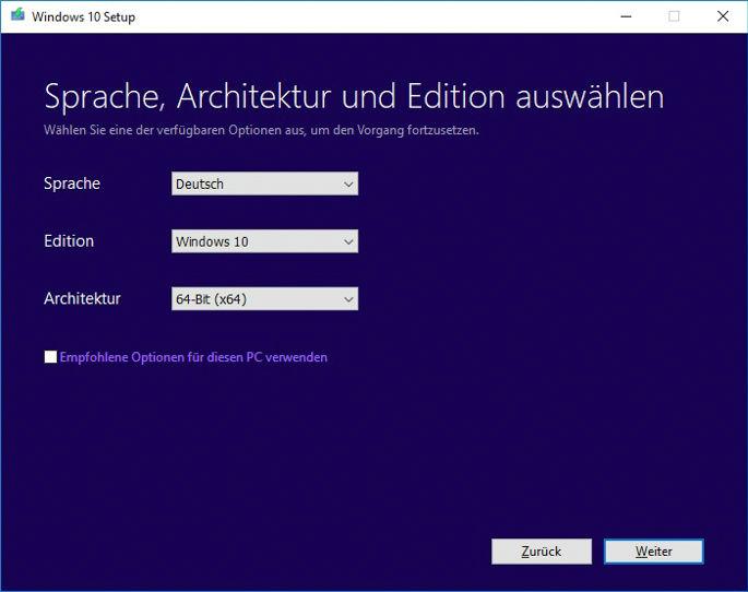 Win 10 64Bit Setup architektur